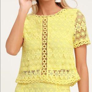Yellow Crochet Lace Crop top